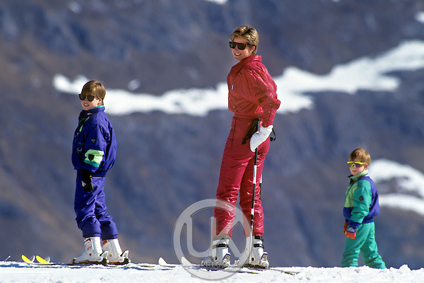 Diana Princess of Wales, Prince William, and Prince Harry, Skiing in Lech, Austria