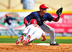 10 March 2010: Washington Nationals' shortstop Ian Desmond makes a play at second during a Spring Training game against the St. Louis Cardinals at Roger Dean Stadium in Jupiter, Florida. The Cardinals defeated the Nationals 6-4 in Grapefruit League action. Mandatory Credit: Ed Wolfstein Photo