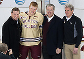 Doug Brown, Patrick Brown (BC - 23), Tom Peters (BC - Senior Associate AD), Brad Bates (BC - AD) - The visiting University of Notre Dame Fighting Irish defeated the Boston College Eagles 2-1 in overtime on Saturday, March 1, 2014, at Kelley Rink in Conte Forum in Chestnut Hill, Massachusetts.