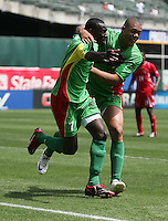 Loic Loval (7) celebrates his goal with Mickael Antoine-Curier (right). Guadeloupe defeated Panama 2-1 during the First Round of the 2009 CONCACAF Gold Cup at Oakland Coliseum in Oakland, California on July 4, 2009.