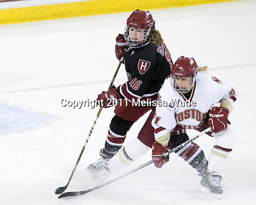 Marissa Gedman (Harvard - 16), Andrea Green (BC - 21) - The Boston College Eagles defeated the Harvard University Crimson 3-1 to win the 2011 Beanpot championship on Tuesday, February 15, 2011, at Conte Forum in Chestnut Hill, Massachusetts.
