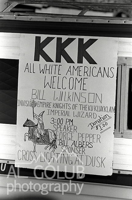 Modesto and Ceres, CA--Rhetoric and Hate came to Stanislaus County via the Ku Klux Klan.  The Klan held rallies in west Modesto Park near the King Kennedy Center and in Whitmore Park in Ceres.  Cross burning took place Saturday night in a Ceres pasture.  Two rival Klan group had disagreements during the events. Grand Dragon Robert L. Wyer is from the Fresno-Clovis area and his followers turned Klan Imperial Wizard Bill Wilkinson away.  Bill Albers a local Ku Klux Klan leader organized the cross burning.  February 20, 1981 Photo by AL GOLUB / Golub Photography .