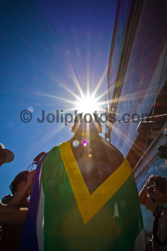 """Jordy Smith (ZAF) JEFFREYS BAY, South Africa (Sunday, July 18, 2010) - Jordy Smith (ZAF), 22, has claimed his maiden ASP elite victory, taking out the Billabong Pro Jeffreys Bay over Adam Melling (AUS), 25, in front of a capacity hometown crowd..Event No. 4 of 10 on the 2010 ASP World Tour, the Billabong Pro Jeffreys Bay was nothing but blaring Vuvuzelas and roars from the bluff as these two titans went tit-for-tat in an incredible Final exchange. The young South African proved the victor, dominating from the outset and securing an emotional first win..""""This is the best day of my life,"""" Smith said. """"The crowd on the beach has been supporting me the last few days and hearing the cheers and the Vuvuzelas just gets me fired up to perform. It feels like they're pushing me along. I couldn't have done it without them."""".The most experienced surfer at Jeffreys Bay, Smith left very little to chance in the Final against Melling, opening his account with a blazing 8.90 before backing it up with some scintillating forehand surfing for a 9.03. The combination of scores (17.93 out of a possible 20) proved insurmountable for Melling.  Photo: joliphotos.com"""
