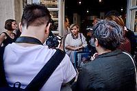 Roma, 9 Giugno  2015<br /> Il comune di Roma revoca la concessione del Nuovo Cinema Aquila, storico cinema del quartiere Pigneto, con tre anni di anticipo rispetto alla scadenza del regolare contratto di concessione e i lavoratori del cinema verranno licenziati.<br /> Il Nuovo Cinema Aquila &egrave; l'unico cinema che a Roma  a proiettato il film di Sabina Guzzanti &quot;La trattativa Stato-Mafia&quot;.  Nella foto: Nunzia Castello (C), Assessore alla Cultura del V municipio.<br /> Rome, June 9, 2015<br /> The municipality of Rome revoked the grant of the Nuovo Cinema Aquila, the historic movie theater of Pigneto, with three years in advance of the expiry of the concession contract and regular employees of the cinema will be laid off.<br /> The Nuovo Cinema Aquila is the only cinema in Rome to screen the film by Sabina Guzzanti &quot;Negotiation State-Mafia&quot;. Pictured: Nunzia Castello (C), assessor  of Culture of the V Hall.