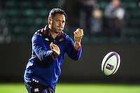 Bath Rugby Head Coach Tabai Matson passes the ball during the pre-match warm-up. European Rugby Challenge Cup match, between Bath Rugby and Bristol Rugby on October 20, 2016 at the Recreation Ground in Bath, England. Photo by: Patrick Khachfe / Onside Images