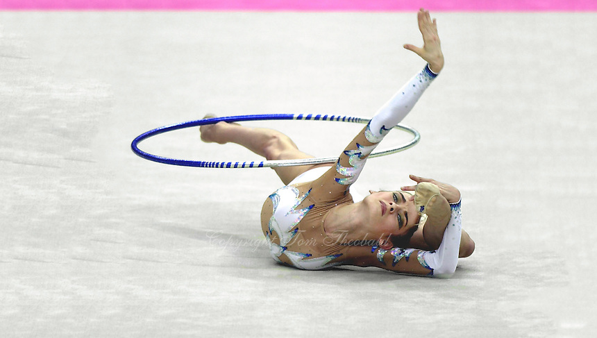 02 OCTOBER 1999 - OSAKA, JAPAN: Yulia Barsoukova of Russia performs with hoop at the 1999  World Championships in Osaka, Japan. Yulia took the Bronze medal in the individual all around and became Olympic champion at Sydney 2000.