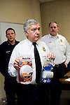 SOUTHBURY, CT- 4 December 2014-120414EC02--   Southbury Fire Marshal Barry Rickert is giving away hundreds of free smoke detectors during the holiday season. Behind him is Deputy Fire Marshalls Dan Tomascak and Tim Baldwin. Erin Covey Republican-American