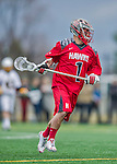 18 April 2015: University of Hartford Hawk Attacker Kevin O'Shea, a Senior from Dix Hills, NY, in action against the University of Vermont Catamounts at Virtue Field in Burlington, Vermont. The Cats defeated the Hawks 14-11 in the final home game of the 2015 season. Mandatory Credit: Ed Wolfstein Photo *** RAW (NEF) Image File Available ***