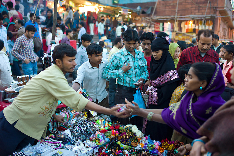 Muslim women shopping at Meena Bazar market in Muslim area of Old Delhi, India