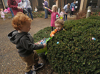 NWA Democrat-Gazette/BEN GOFF @NWABENGOFF<br /> Colton Sklenieka (left), 2, and Kaden Underwood, 3, of Bella Vista collect eggs on Saturday March 12, 2016 during the annual Easter egg hunt at First United Methodist Church of Bella Vista.