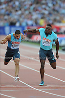 The Mens 100m B race at the Sainsbury Anniversary Games, Olympic Stadium, London England, Friday 26th July 2013-Copyright owned by Jeff Thomas Photography-www.jaypics.photoshelter.com-07837 386244. No pictures must be copied or downloaded without the authorisation of the copyright owner.