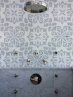 Arabella, a stone waterjet and hand cut mosaic shown in Carrara and Thassos, is part of the Silk Road Collection by Sara Baldwin for New Ravenna Mosaics.