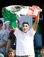 05 July 2009: Mexico soccer fan shows his support during the game between Mexico and Nicaragua at Oakland-Alameda County Coliseum in Oakland, California.    Mexico defeated Nicaragua, 2-0.