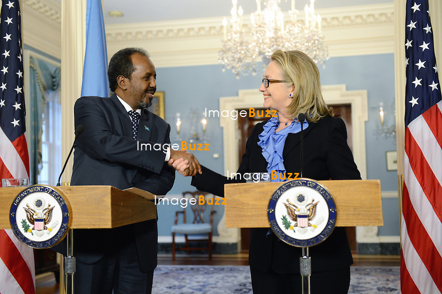 U. S. Secretary of State Hillary Rodham Clinton meets with Somali President Hassan Sheikh Mohamud at the U. S. Department of State in Washington, D. C. on January 17, 2013.