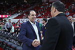 18 February 2017: Notre Dame head coach Mike Brey. The North Carolina State University Wolfpack hosted the University of Notre Dame Fighting Irish at the PNC Arena in Raleigh, North Carolina in a 2016-17 Division I Men's Basketball game. Notre Dame won the game 81-72.