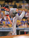 22 July 2011: Washington Nationals closing pitcher Drew Storen on the mound against the Los Angeles Dodgers at Dodger Stadium in Los Angeles, California. The Nationals defeated the Dodgers 7-2 in their first meeting of the 2011 season. Mandatory Credit: Ed Wolfstein Photo