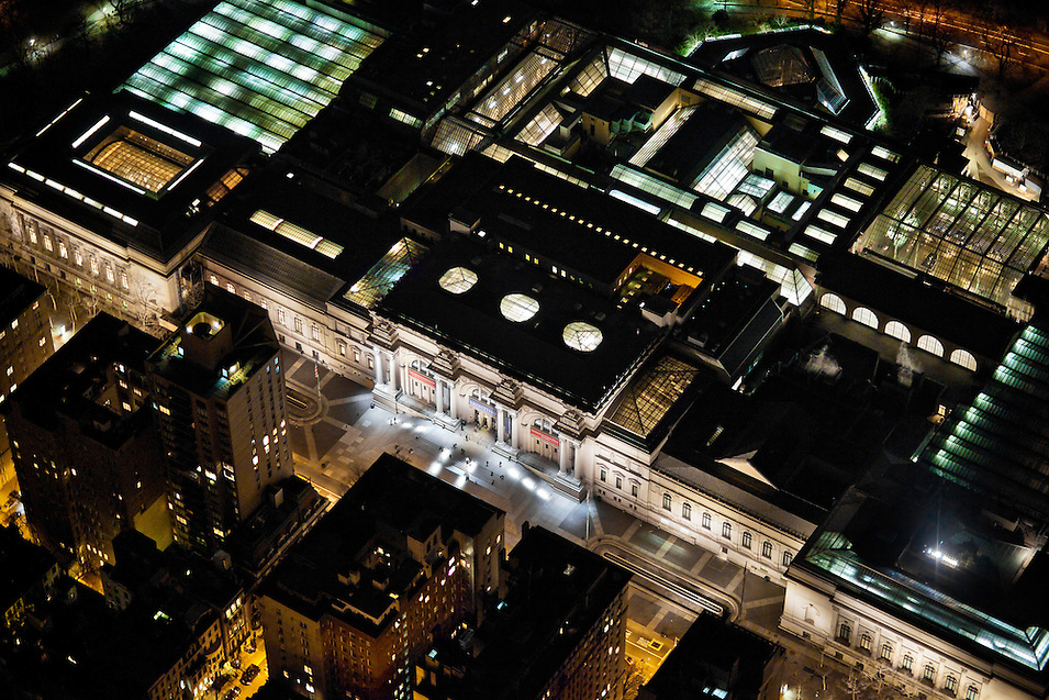 The Metropolitan Museum of Art viewed from a helicopter at night.