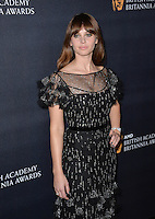 BEVERLY HILLS, CA. October 28, 2016: Felicity Jones at the 2016 AMD British Academy Britannia Awards at the Beverly Hilton Hotel.<br /> Picture: Paul Smith/Featureflash/SilverHub 0208 004 5359/ 07711 972644 Editors@silverhubmedia.com