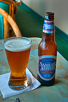 Samuel Adams, Beer Bottle, Glass Full