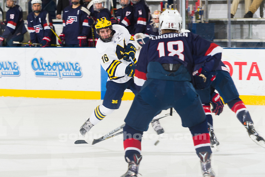 The University of Michigan ice hockey team,5-2 victory over USANTDP at Yost Ice Arena in Ann Arbor, MI on January 21, 2016.