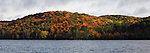 Panoramic view of Lake of Bays and colorful fall forest during sunset. Ontario Canada.