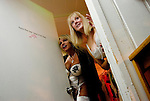 Sex workers Felicia Foxxx, left, and Diane Diamonds check on a disturbance in the parking lot of the Moonlite Bunny Ranch brothel in Mound House, NV on Thursday, July 27, 2006...The Moonlite Bunny Ranch brothel in Mound House, Nevada - just a few miles from the state capital in Carson City - first opened in 1955. The Ranch is a legal, licensed brothel owned by Dennis Hof. It's featured in the HBO series &quot;Cathouse.&quot;