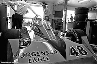 INDIANAPOLIS, IN: The Eagle 7700/Offenhauser TC driven by Pancho Carter sits in the garage area before practice for the Indianapolis 500 on May 29, 1977, at the Indianapolis Motor Speedway.