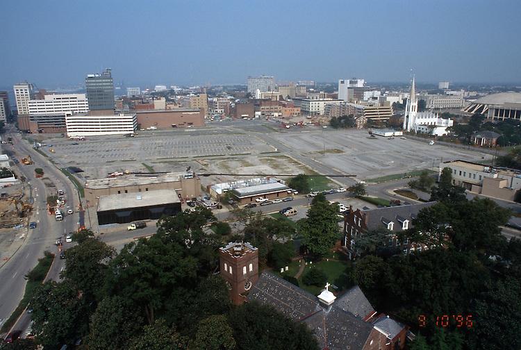 1996 September 10..Redevelopment..Macarthur Center.Downtown North (R-8)..PROGRESS.LOOKING WEST.FROM SCHOOL ADMIN BUILDING.CITY HALL AVENUE ON LEFT...NEG#.NRHA#..