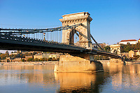 Szecheni Lanchid ( Chain Bridge ). Suspension bridge over the Danube betwen Buda & Pest. Budapest Hungary