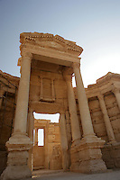 Roman theatre stage, royal door at centre, 1st-2nd century AD, Palmyra, Syria Picture by Manuel Cohen