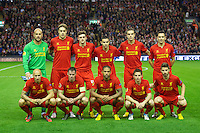 LIVERPOOL, ENGLAND - Thursday, October 4, 2012: Liverpool's players line up for a team group photograph before the UEFA Europa League Group A match against Udinese Calcio at Anfield. Back row L-R: goalkeeper Jose Reina, Sebastian Coates, Jack Robinson, Oussama Assaidi, Jordan Henderson, Stewart Downing. Front row L-R: Jonjo Shelvey, Jamie Carragher, Glen Johnson, Joe Allen, Fabio Borini. (Pic by David Rawcliffe/Propaganda)