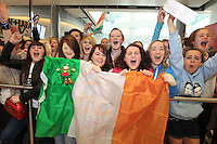 15/5/11 Fans wait for Jedward to arrive home at T2 Dublin Airport after finishing in 8th place at the Eurovision Song Contest in Dusseldorf, Germany. Picture:Arthur Carron/Collins