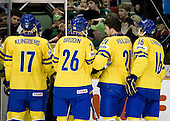 Carl Klingberg (Sweden - 17), Daniel Brodin (Sweden - 26), Magnus Paajarvi Svensson (Sweden - 21), Anton Lander (Sweden - 16) - Team Sweden celebrates after defeating Team Switzerland 11-4 to win the bronze medal in the 2010 World Juniors tournament on Tuesday, January 5, 2010, at the Credit Union Centre in Saskatoon, Saskatchewan.