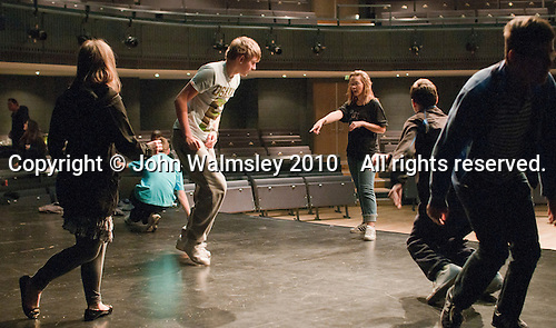 """On Fire"" street dance group rehearsing with choreographer, Hannah Greenslade.  Special Olympics Surrey put on a show,   ""Beyond the Stars"", at the Rose Theatre, Kingston upon Thames to raise money for the  SOGB team.  The Special Olympics are for athletes with learning disabilities."