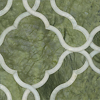 Dorothy, a stone water jet mosaic, shown in Ming Green and Chartreuse, is part of the Ann Sacks Beau Monde collection sold exclusively at www.annsacks.com