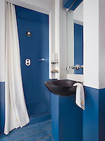 The simple bathroom has a bold blue and white colour scheme