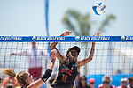 GULF SHORES, AL - MAY 07: Joy Dennis (11) of the University of Southern California returns the ball against Pepperdine University during the Division I Women's Beach Volleyball Championship held at Gulf Place on May 7, 2017 in Gulf Shores, Alabama.The University of Southern California defeated Pepperdine 3-2 to claim the national championship. (Photo by Stephen Nowland/NCAA Photos via Getty Images)