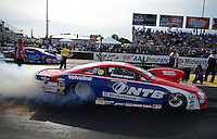 Sept. 28, 2012; Madison, IL, USA: NHRA pro stock driver Shane Gray during qualifying for the Midwest Nationals at Gateway Motorsports Park. Mandatory Credit: Mark J. Rebilas-