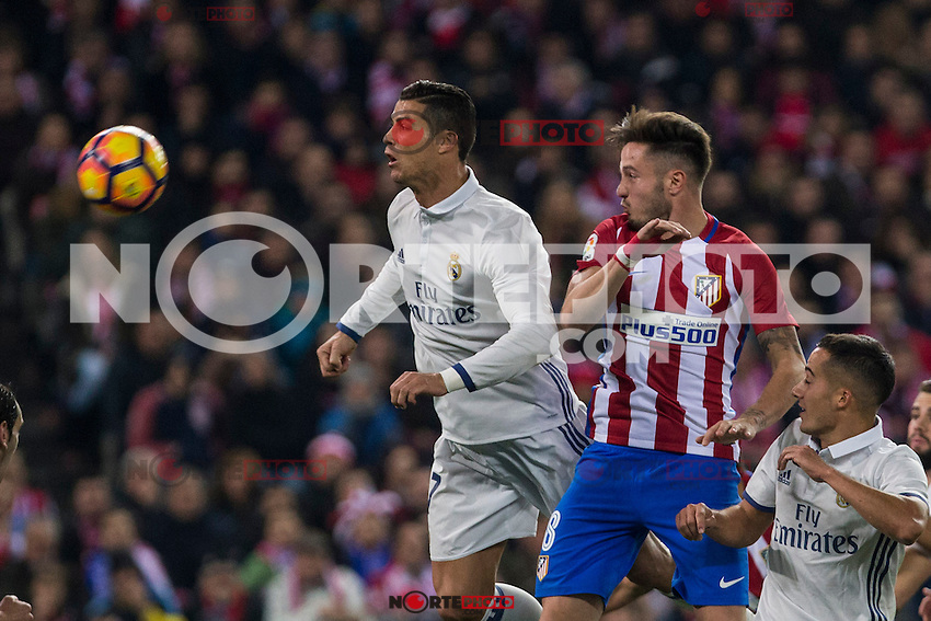 Real Madrid's Cristiano Ronaldo Atletico de Madrid's Saul Iniguez during the match of La Liga between Atletico de Madrid and Real Madrid at Vicente Calderon Stadium  in Madrid , Spain. November 19, 2016. (ALTERPHOTOS/Rodrigo Jimenez) /NORTEPHOTO.COM