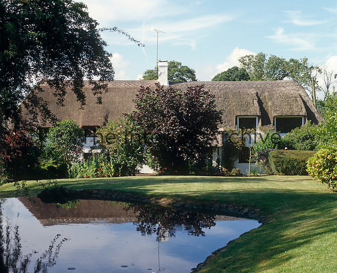 A traditional English cottage with a magnificent thatched roof