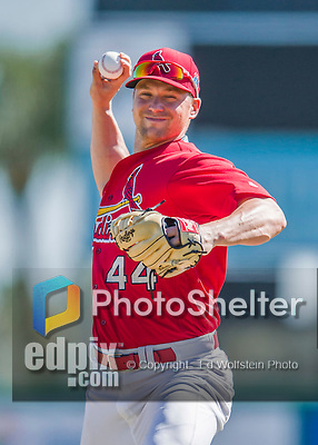 6 March 2016: St. Louis Cardinals pitcher Trevor Rosenthal warms up prior to a Spring Training pre-season game against the Washington Nationals at Roger Dean Stadium in Jupiter, Florida. The Nationals defeated the Cardinals 5-2 in Grapefruit League play. Mandatory Credit: Ed Wolfstein Photo *** RAW (NEF) Image File Available ***