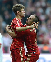 FUSSBALL   1. BUNDESLIGA  SAISON 2012/2013   2. Spieltag FC Bayern Muenchen - VfB Stuttgart      02.09.2012 Jubel nach dem Tor Thomas Mueller mit Franck Ribery (v. li., FC Bayern Muenchen)
