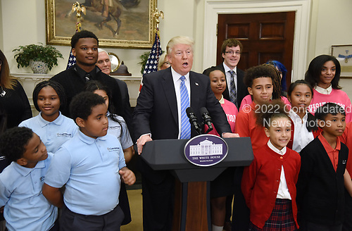 United States President Donald J. Trump makes remarks during a School Choice event  in the Roosevelt Room of the White House in Washington, DC, on May 3, 2017. <br /> Credit: Olivier Douliery / Pool via CNP