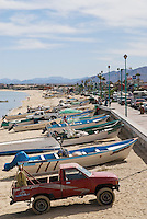 Fishing boats on beach in San Felipe, Baja California, Mexico