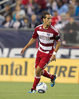 FC Dallas midfielder Daniel Cruz (7) looks to pass. In a Major League Soccer (MLS) match, the New England Revolution defeated FC Dallas, 2-0, at Gillette Stadium on September 10, 2011.