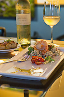Seared Tiger Prawns.Couscous Tabbouleh, Tomato Salad,.Herb Citrus Vinaigrette