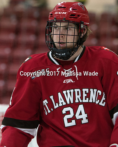 Taggart Corriveau (SLU - 24) - The Harvard University Crimson defeated the St. Lawrence University Saints 6-3 (EN) to clinch the ECAC playoffs first seed and a share in the regular season championship on senior night, Saturday, February 25, 2017, at Bright-Landry Hockey Center in Boston, Massachusetts.