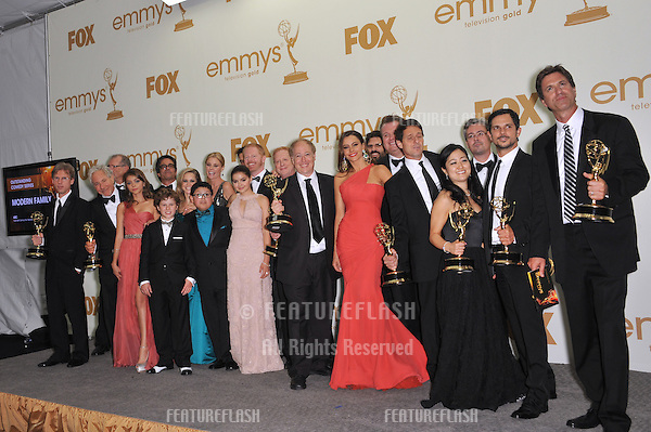 Modern Family stars, including Sofia Vergara, in the press room at the 2011 Primetime Emmy Awards at the Nokia Theatre L.A. Live in downtown Los Angeles..September 18, 2011  Los Angeles, CA.Picture: Paul Smith / Featureflash