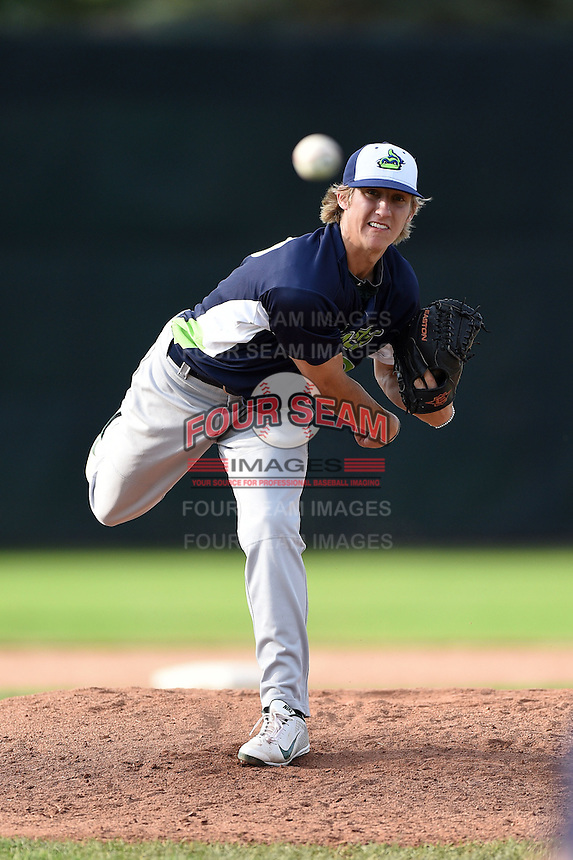 Vermont Lake Monsters pitcher Daniel Gossett (29) delivers a pitch during a game against the Jamestown Jammers on July 13, 2014 at Russell Diethrick Park in Jamestown, New York.  Jamestown defeated Vermont 6-2.  (Mike Janes/Four Seam Images)