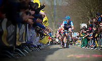 De Ronde van Vlaanderen 2012..Tyler Farrar leading the race up the Oude Kwaremont (1st of 3 runs up it).